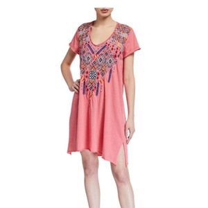 JWLA Shankara Embroidered Tunic Dress Coral